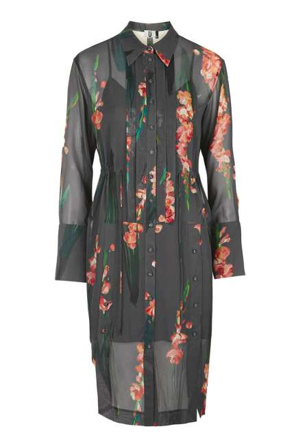 A floral silk shirt dress that can double as a duster if fully unbuttoned.